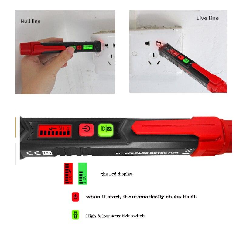 Nicht Kontaktieren AC Spannung Detektor Stift High Low Empfindlichkeit 50-60 hz AC 12-1000 v stil Spannung tester LCD Alarm Selbst-prüfung tester