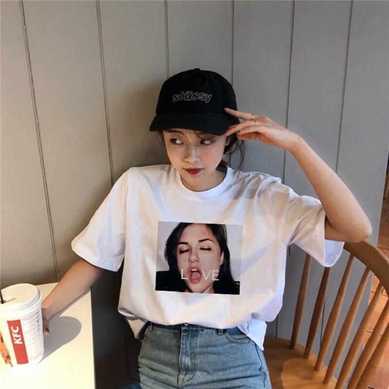 Retro Casual Fashion Women Cartoon T Shirt Short Sleeve Large Size Cartoon Harajuku David Summer Loose