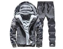 Kostenloser versand Männer dicke warme baumwolle Fleece sets Freizeit mit kapuze sätze Mode langärmelige herrenbekleidung große größe M-4XL