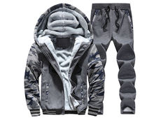 Free shipping Men's thick warm cotton Fleece sets Leisure  hooded sets Fashion Long-sleeved men's clothing big size M-4XL