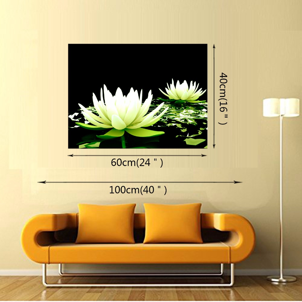 1 Panel Free shippting Canvas Print Flower White Lotus In Black Wall ...
