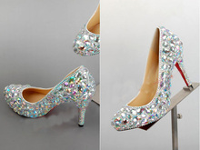 2016 Best Silver Crystal High-heeled Lady Bridal Wedding Dress Shoes Woman Shoes for Bride Round Toe Formal Shoe