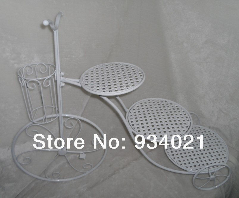 bike wedding cake stand free shipping white 3 tier bicycle shaped iron cake stand 11761