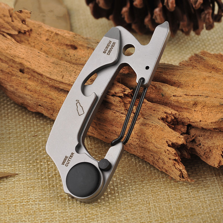 Survival Kit Opener Screwdriver Stainless Steel Carabiners Keychain Silver