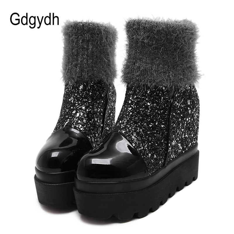 Gdgydh Platform Heels Warm Round Toe Height Increasing Ankle Boots Fashion Winter Boots Women Slip On 2018 New Autumn Shoes стоимость