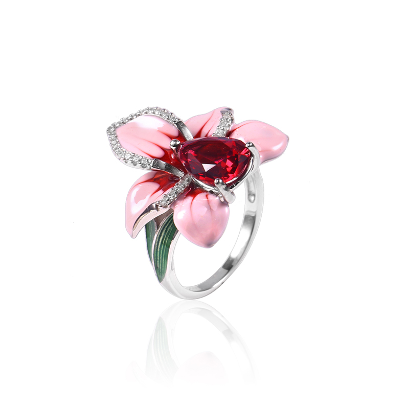 2018 New Pink Enamel silver orchid Jewelry Set (stub Earrings Pendant ring) Authentic 925 Sterling Silver Jewelry DIY Making (10)