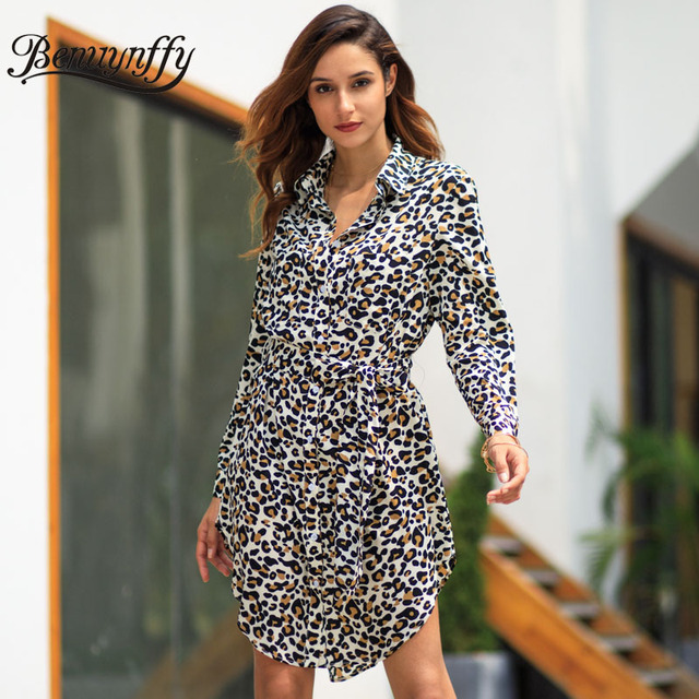 a3ab002867f Benuynffy Women s Long Sleeve Tunic Belted Leopard print Shirt Dress Autumn  Women Elegant OL Workwear Turndown Collar Dresses