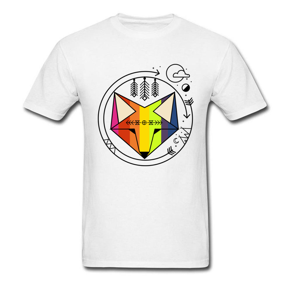 Free Shipping Men's Short Sleeve Tee Shirt Geometric Indie Art Fox Scenic