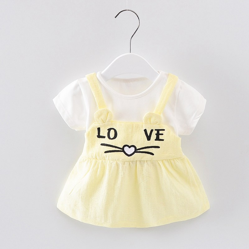 1-6Y Baby Girls Dress Love Summer Dresses Cute A- Line Skirt Girl Princess Dress White Birthday Dress Kids Girls Clothing Cotton