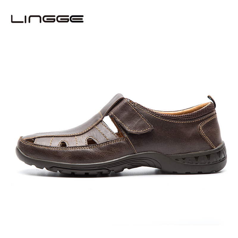 LINGGE Genuine Leather Men Sandals Big Size 40-45 New 2018 Summer Beach Shoes Classic Leather Sandals For Men #330-2