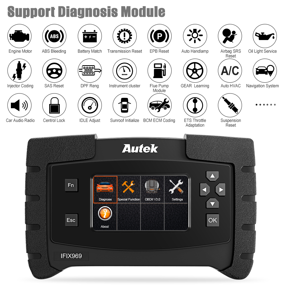 Image 3 - Autek IFIX 969 OBD2 Automotive Scanner Full System Diagnostic Engine Airbag ABS SRS EPB SAS ESP TPMS OBD OBD 2 Car Scanner Tool-in Code Readers & Scan Tools from Automobiles & Motorcycles on