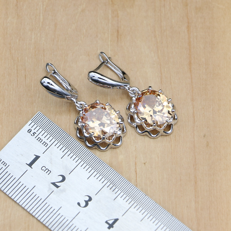 Image 4 - 925 Silver Bridal Jewelry Sets Champagne Zircon Earrings For Women /Pendant/Necklace/Rings/Bracelet Indian jewelryBridal Jewelry Sets   -