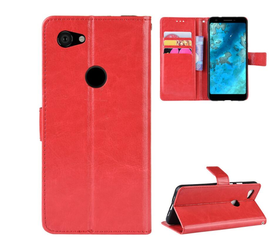 50pcs lot Crazy Horse Wallet Stand Flip PU Leather case For Google Pixel 3A Pixel 3A