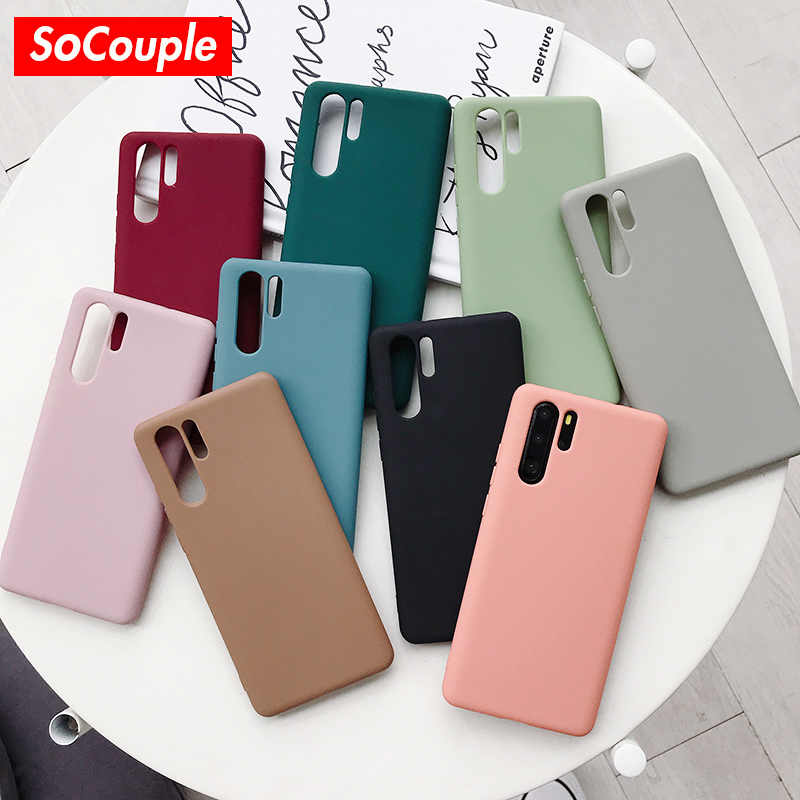 SoCouple Soft TPU Phone Case For Huawei P20 P30 Pro P10 plus Mate 20 10 30 Pro Honor 10 10i 20 8X 9X Nova 3 3i Candy Color Case