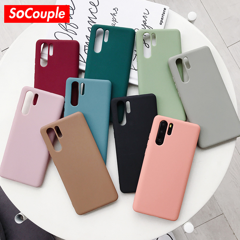 SoCouple Phone Case For Huawei P20 P30 Pro P10 plus Candy Color Soft TPU Case For Huawei Mate 20 10 Pro Nova 2s 3 3i 4 Cover Apple iPhone XS Max