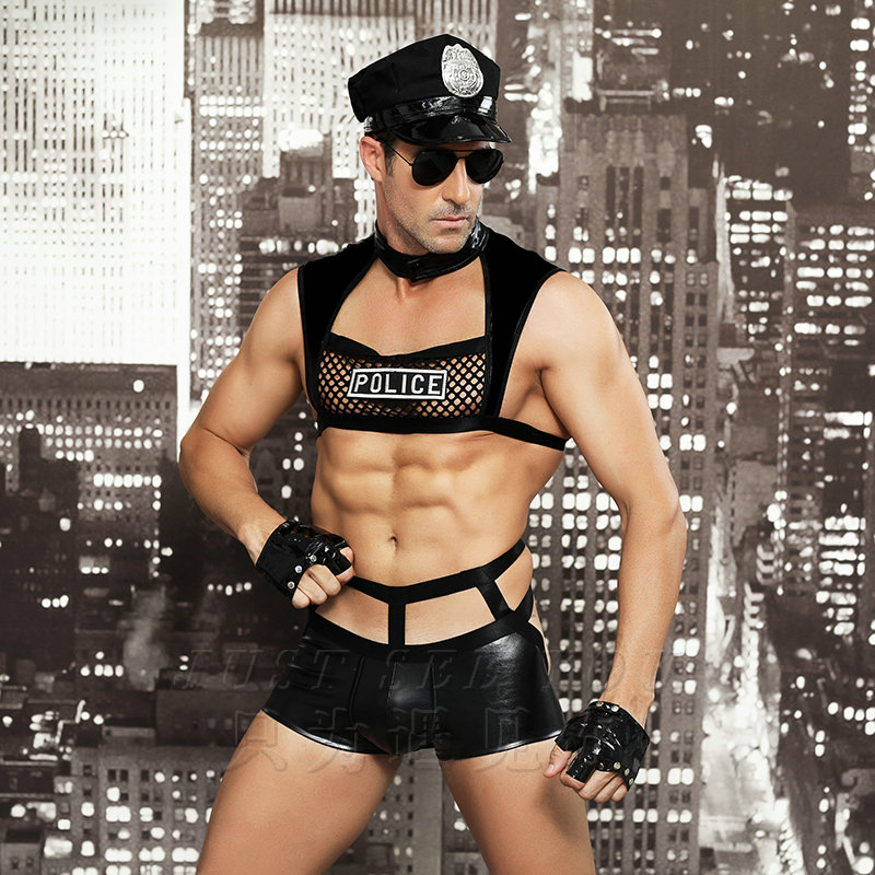 <font><b>Men</b></font> <font><b>Sexy</b></font> Costumes Hot Erotic <font><b>Sexy</b></font> Police Officer Cosplay Costume Fancy Cops Dress <font><b>Men</b></font> <font><b>Halloween</b></font> Costume Police Uniforms 6603 image