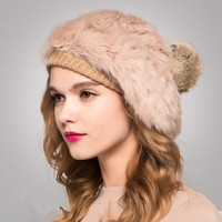 2015 New Pure Rabbit Fur Hat Fur Hat Beret Woman Painter Nifty Fashion Free Shipping