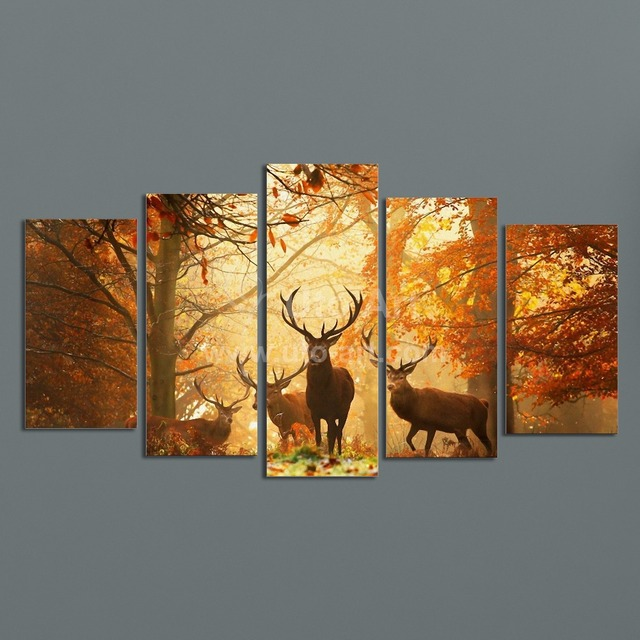 Modern Digital Picture Print on Canvas Animal Deer Custom Wall Frame Panels the Photo as 5 & Modern Digital Picture Print on Canvas Animal Deer Custom Wall Frame ...