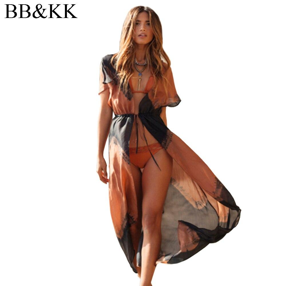 Suvi stiilis naiste trükitud šifonist pluus Pikk Kimono kardigani rand kaanega kaaned Casual Sexy Beachwear särk pealisrõivad