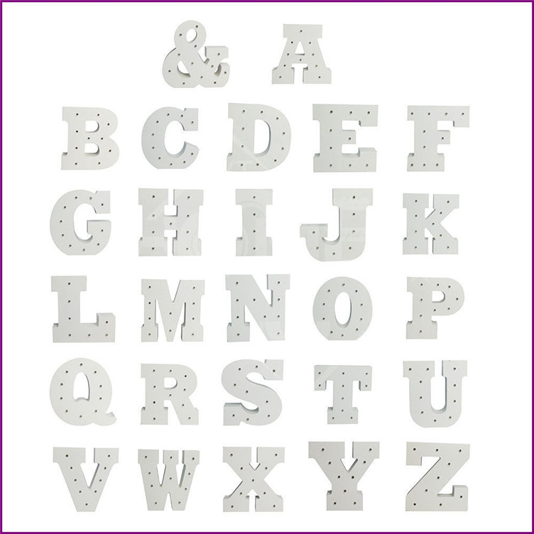 White-wooden-letter-Decoration-Crafts-Figurine-LED-Marquee-Sign-Alphabet-LIGHT-UP-night-light-Indoor-WALL