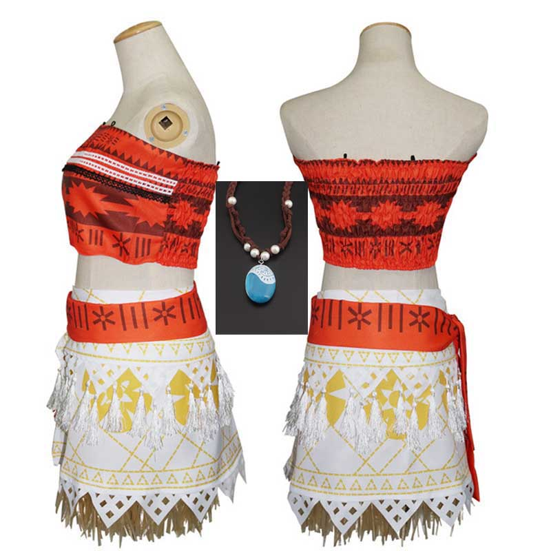 Christmas Gift Moana vaiana Dress With Necklace for Kids Girls Princess Dresses Cosplay Children Clothes vaiana Costume For Kids
