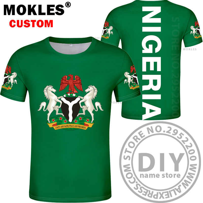 NIGERIA t shirt diy free custom made name number nga t-shirt nation flag ng  federal republic nigerian college text photo clothes