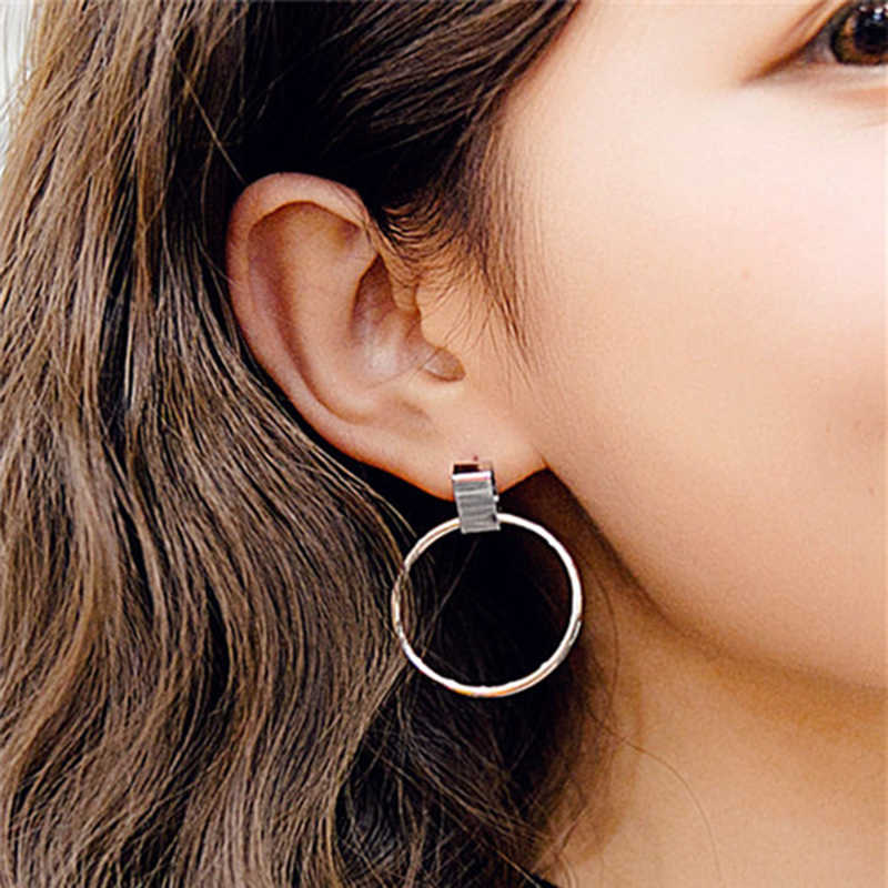 SUKI Boucle d'oreille Punk Round Earrings for Women Big Circle Drop Dangle Earring Circle Pendant Women Statement Jewelry
