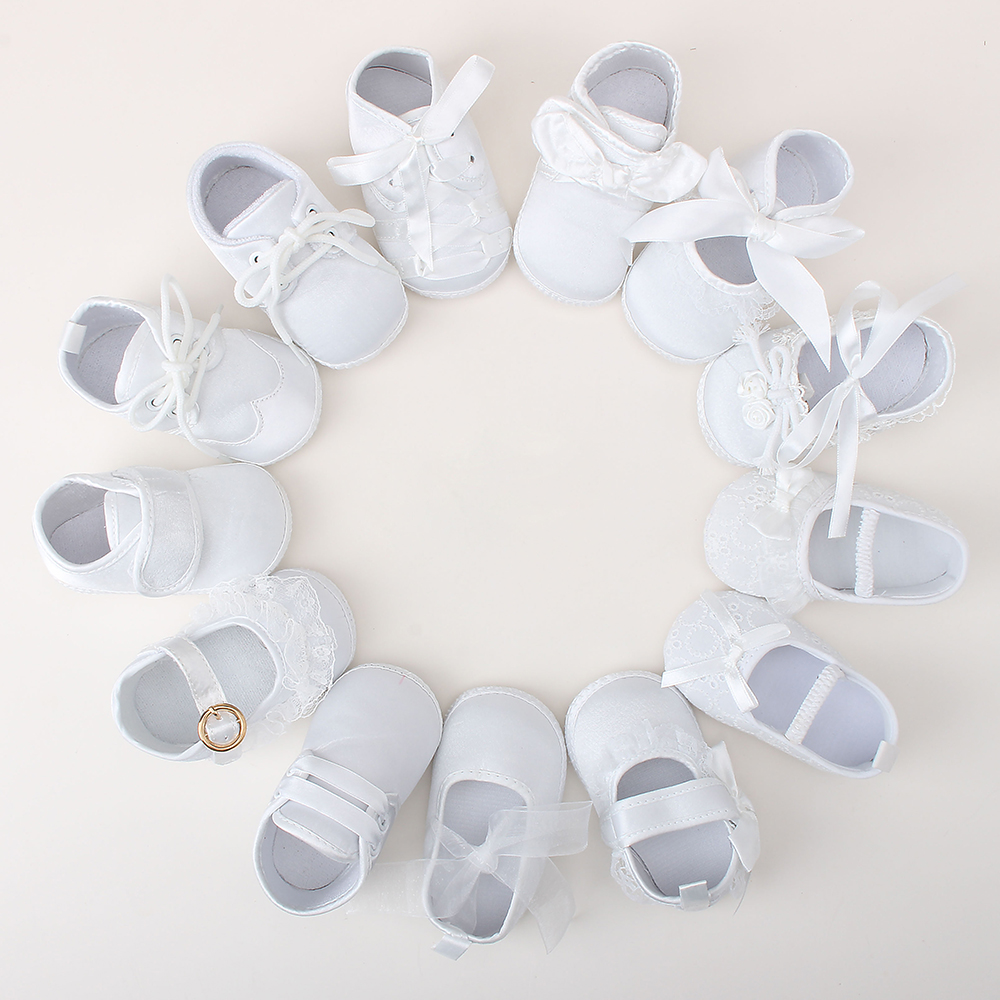Delebao Christening Baby Shoes For 0-12 Months Pure White Baptism & Christening Shoes