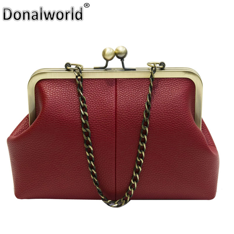 Donalworld Women Messenger Bag Retro Kiss Lock Pu Leather Crossbody Bag Vintage Shoulder Purse Handbag Totes Solid Color bear leader girls skirt sets 2018 new autumn&winter geometric pattern long sleeve sweater skirt 2pcs knitwear sets for 3 7 years