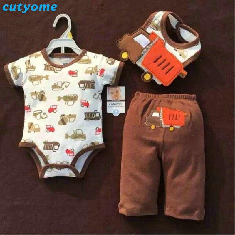 Cutyome 3pcs/set New Born Baby Clothing 2017 Boy Short Sleeve Romper+bib+pants Clothes Suits Infant Girls Cotton Clothing Set