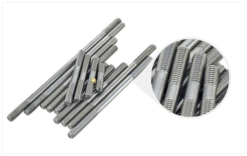 M10 M10*250 M10x250 304 Stainless Steel 304ss DIN835 Dual Head Screw Headless Double End Thread Rod Bolt Stud