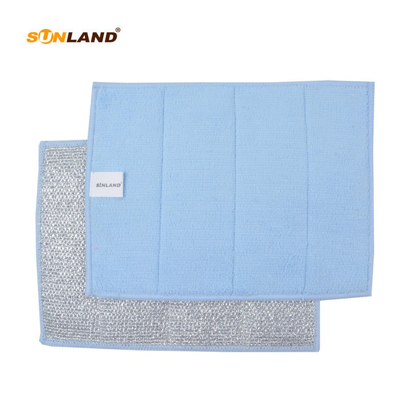 Sinland Double-Sided Microfiber Bergerai Hob & Oven Dish Cloths Cleaning Pads dengan Scourer 17x23cm