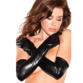 Sexy Womens Long Gloves Black Faux Leather Gauntlet Sex Costume Accessory Mittens Fetish Cosplay Adult Sex Products For Women