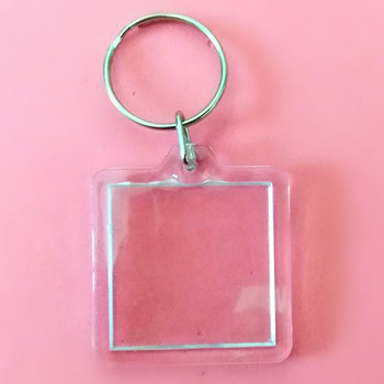 500 Pcs DIY Square shaped Transparent Blank Insert Photo Picture Frame Key Ring Split keychain