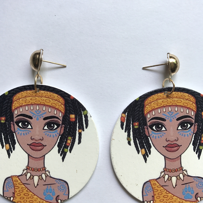 60cm Wood African Beauty Cute Girl Black Queen Rock Africa Earrings Women Vintage Party Afro Jewelry Retro Wooden DIY Accessory in Drop Earrings from Jewelry Accessories