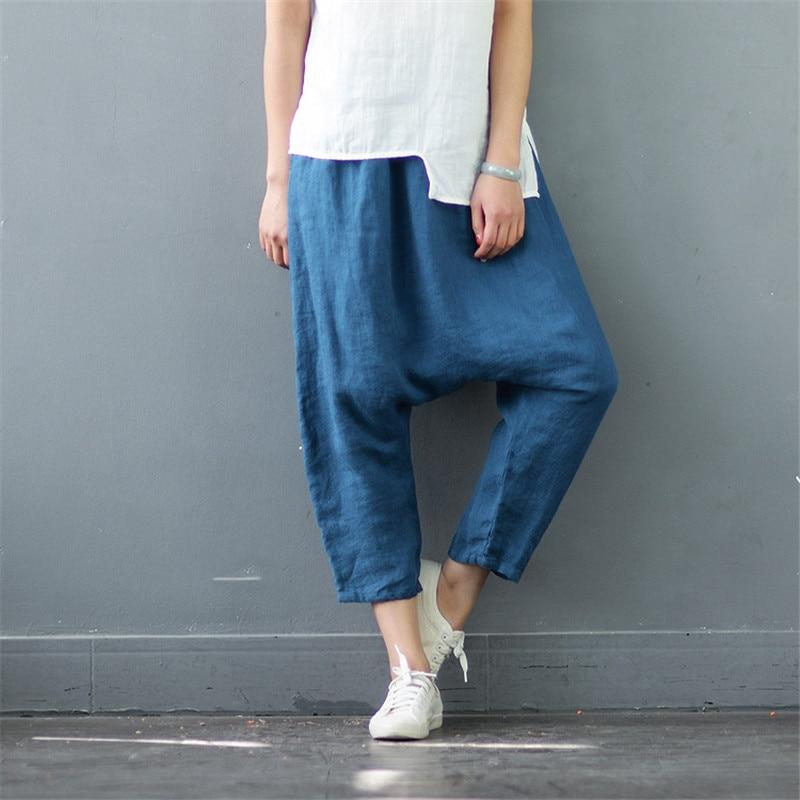 SCUWLINEN 2018 Women Pants Solid Vintage Elastic Waist 100% Linen Calf-length Cross Pants Casual Loose Trousers for Women S570