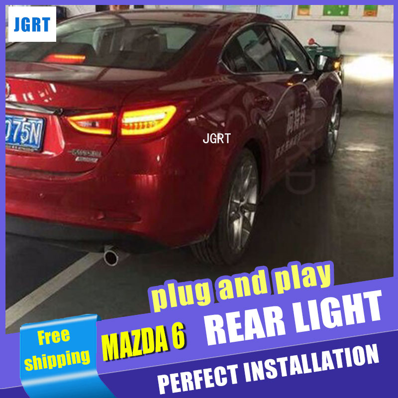 Car Styling for Mazda 6 Taillight assembly 2014-2015 New Mazda 6 LED Tail Light LED Rear Lamp DRL+Brake with hid kit 2pcs. автоинструменты new design autocom cdp 2014 2 3in1 led ds150