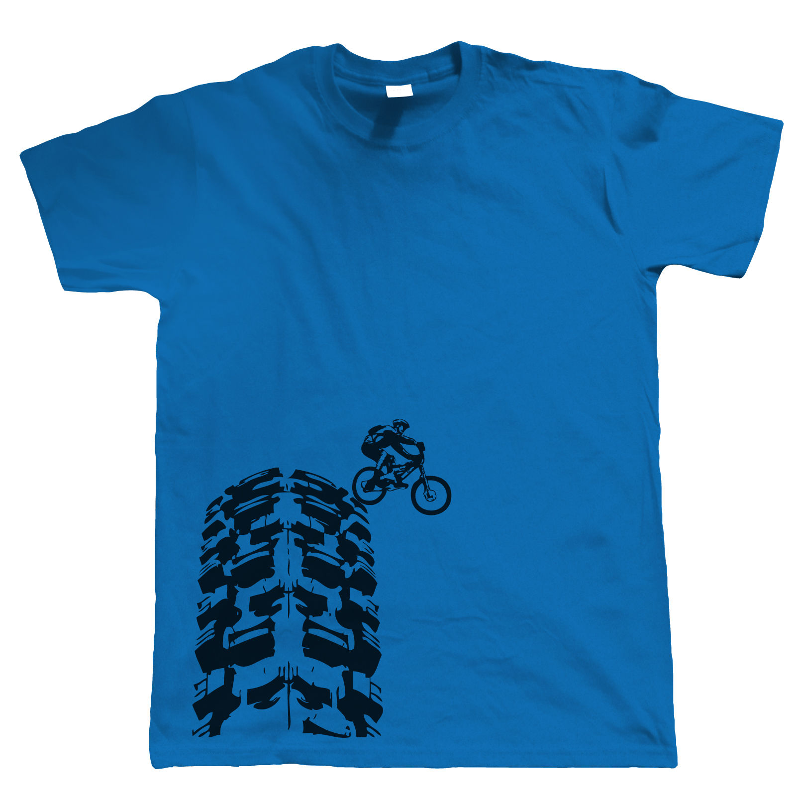Single Track T-Shirt - <font><b>DH</b></font> Mountain Biker MTB Downhill - Choice of Colours <font><b>Dress</b></font> Printing Casual Men'S Tees Men T-Shirts Short image