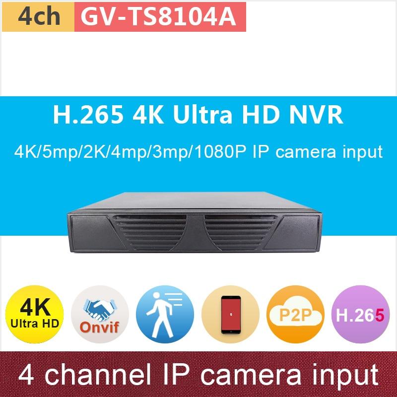 H.265# 4K ONVIF NVR 4ch DVR 4 channel 5mp/2K/4mp/3mp/1080P Ultra HD P2P network video surveillance cctv system GANVIS GV-TS8104A