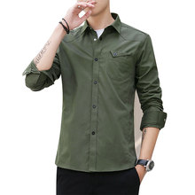 Shirt European Size New Arrival Mens Cotton Workwear Denim Solid Color Long Sleeve British Style denim