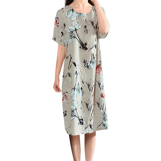 Loose Dress Summer Print...