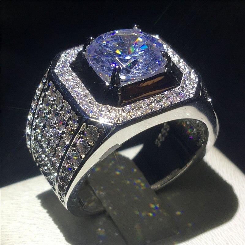 Choucong De Luxe Mâle anneau Grand 3ct Effacer 5A zircon cz 925 Sterling Argent Engagement Wedding Band anneaux Pour hommes Fine bijoux