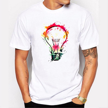 2017 New Arrival O-neck Broadcloth Cotton Print Color Painted Bulb Design Mens T Shirt Cool Fashion Tops Short Sleeve Tees