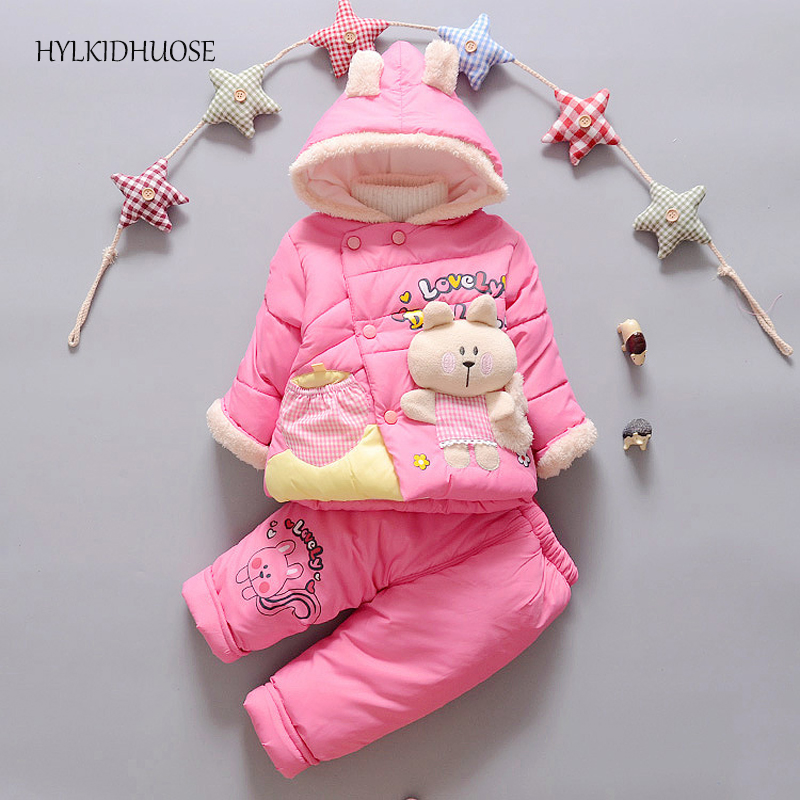 HYLKIDHUOSE 2017 Winter Infant/Newborn Clothes Sets Hooded Baby Girls Warm Suits Thick Outdoor Children Kids Coats+Pants Suits toddler girls hello kitty clothes set winter thick warm clothes plus velvet coat pants rabbi kids infant sport suits w133