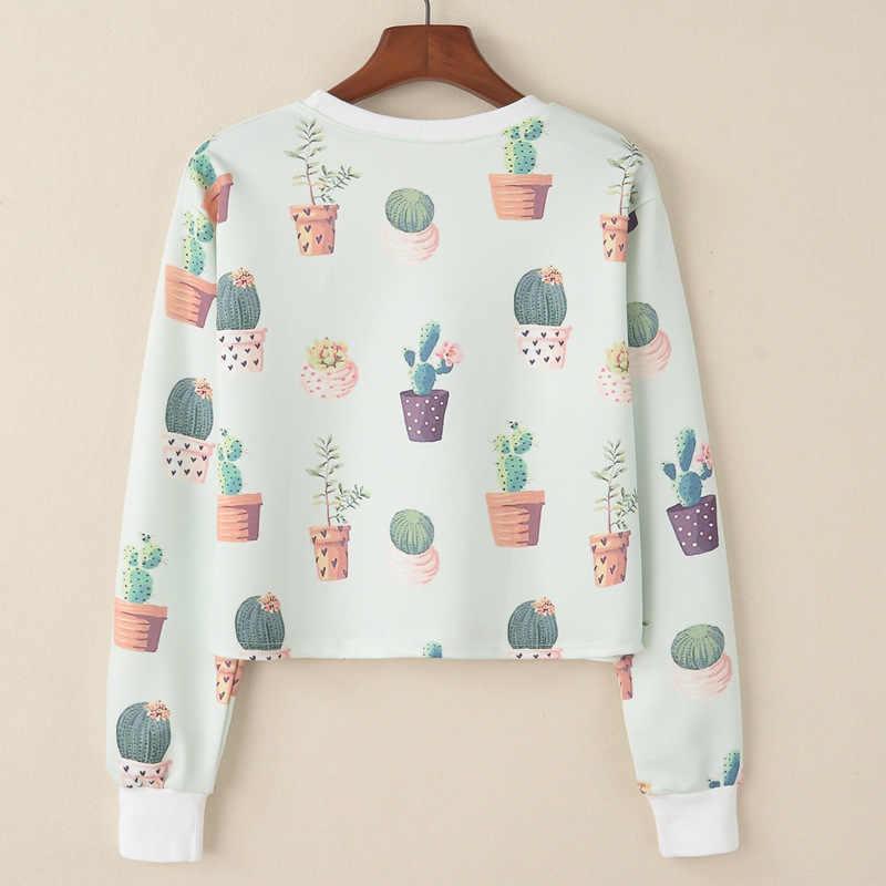 Bts Harajuku-hoofd van bonsai cactus dames mode lange mouwen hoodies afdrukken