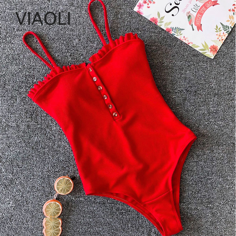 One-Piece Bandage Swimsuit Swimwear Women Solid Swimwear Vintage Retro Monokini Swimsuit Bathing Suits