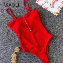 цены One-Piece bandage Swimsuit Swimwear Women Solid Swimwear Vintage Retro Monokini Swimsuit Bathing Suits