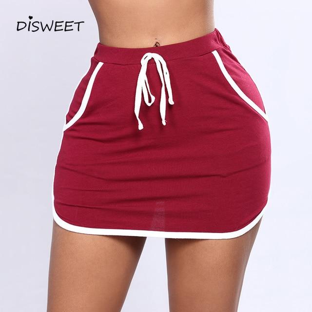 Casual Skirt Women Fashion Solid Color High Waist Mini Skirts Summer Elastic Slim Beach Skirts Female Plus Size Pencil Skirt XXL