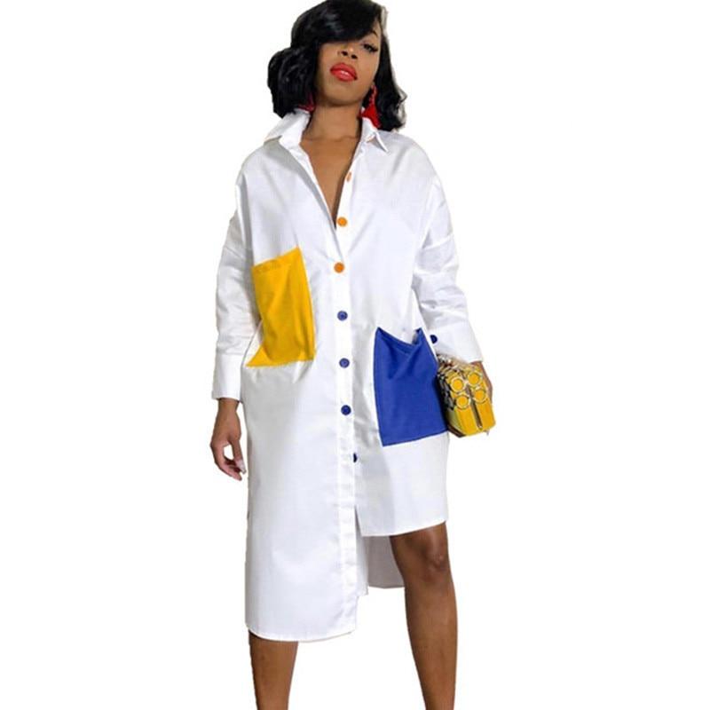 Su/éter Mujer Xinan Blusa de Mujer de Moda Su/éter Largo con Bolsillo o Cuello s/ólido Sudadera Suelta Casual de Manga Larga