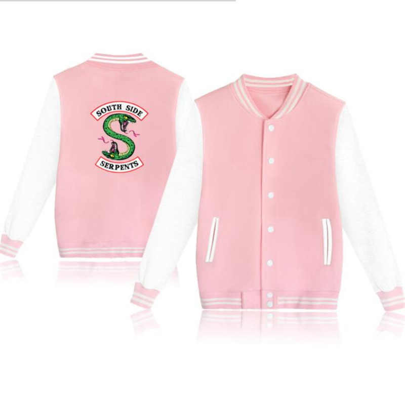 Riverdale South Side Serpents Baseball Uniform Jacket Coat Men Women Harajuku Sweatshirts Winter Fashion Hip Hop Pink Hoodie 4XL